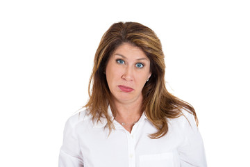 Headshot skeptical lady with pessimistic face expression