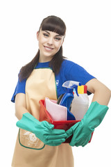 Portrait of Smiling Caucasian Cleaner Woman With Lots of Accesso