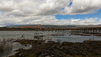 The Dalles Dam and Dalles Bridge Across Columbia River Gorge