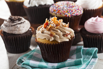 Assorted Fancy Gourmet Cupcakes with Frosting