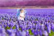 Cute toddler girl in fairy costume in a flower meadow