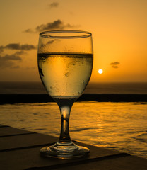 Glass of wine in the sunset