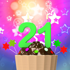 Twenty One Candle On Cupcake Means Colourful Celebration And Hap