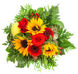bouquet of colorful spring flowers. sunflower, roses, gerber