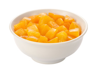 Diced Peaches isolated