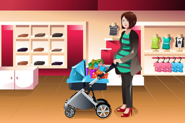 Pregnant woman pushing a stroller full of presents