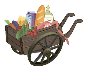 The cart with products cartoon