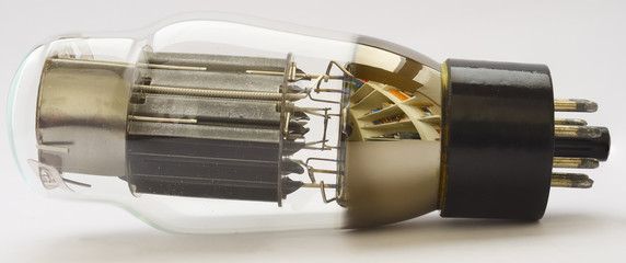 Vacuum Tube 6AS7G (equivalent 6080) on white background