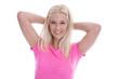 Lachende junge Frau - sommerlich in rosa Shirt
