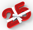 Number Twenty Five With Ribbon Means Twenty Fifth Birthday Or Ce