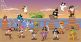Fototapety Group of cartoon pirates with funny animals on a decks of a ship