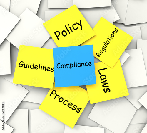 poster of Compliance Post-It Note Shows Conforming To Regulations And Poli