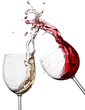 Red and white wine up with drops