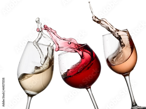 Red, white and rose wine up - 64371358