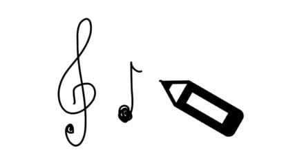 Musik Noten Notenschlüssel Zeichnung Stift