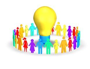 colorful people together holding hand with bulb