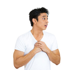 Portrait of young man In love, isolated white background