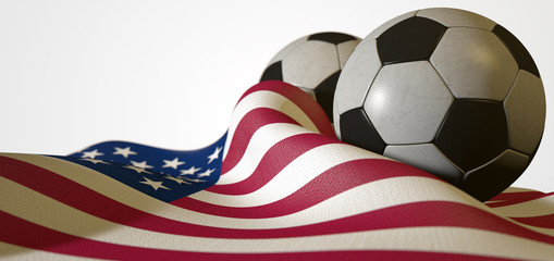 American Flag And Soccer Ball