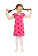 girl in a red dress. studio shot