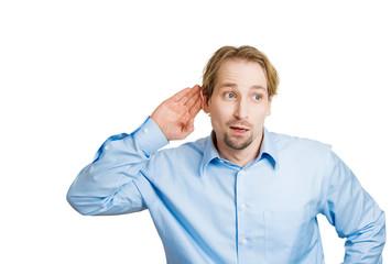 Rumors. Nosy man listening on to someones conversation