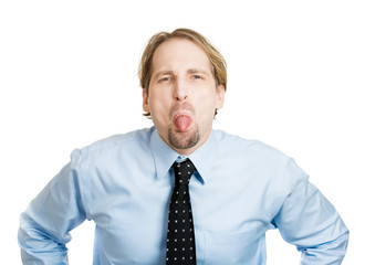 Immature juvenile business man sticking his tongue