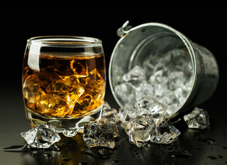 whiskey and ice bucket