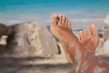 Beauty treatment photo of nice pedicure feet