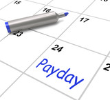 Payday Calendar Shows Salary Or Wages For Employment poster