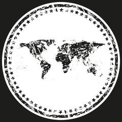 World Map Retro Stamp vector