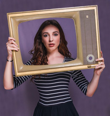 teen curly brunette woman girl child framed television smiling o
