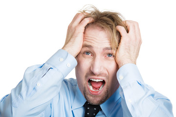 Frustrated upset business man having headache, bad day