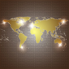 golden world map vector background