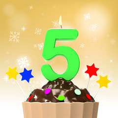 Five Candle On Cupcake Shows Decorated Food Or Party