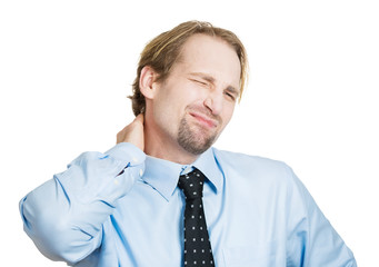 Neck pain. Stressed business man after long working hours