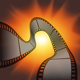 film strip against the flash of light background poster