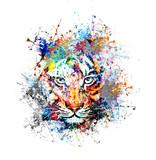 Fototapety яркий фон с тигром