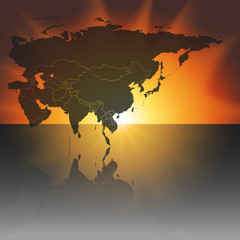Eurasia map on the sunset background vector