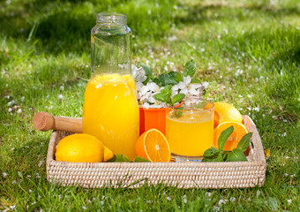 Homemade lemonade from oranges