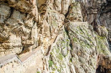 Stairways to Neptune Cave in Capo Caccia, Sardinia, Italy