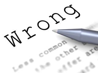 Wrong Word Means False Bad Or Improper
