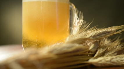 pint of beer with barley,panning