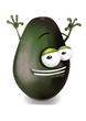 Happy avocado cartoon character, smiling and waving hands.