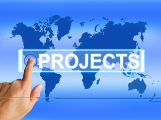 Projects Map Indicates Worldwide or Internet Task or Activity