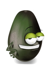 Cool, funny avocado cartoon character with a big smile.