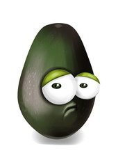 Sad black avocado cartoon, a depressed, disappointed character.