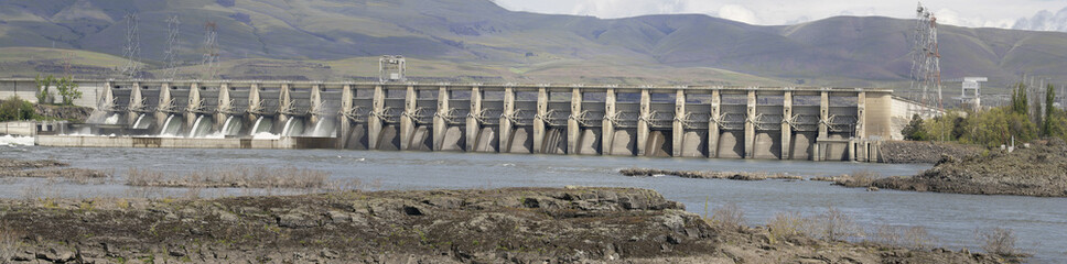 The Dalles Dam Along Columbia River in Oregon