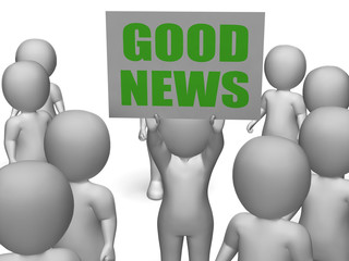 Good News Board Character Means Receiving Great News