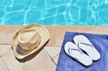 Poolside holiday scenic straw hat swimming pool