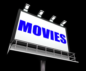 Movies Sign Means Hollywood Entertainment and Picture Shows