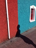 colourful cottage shadow abstract poster